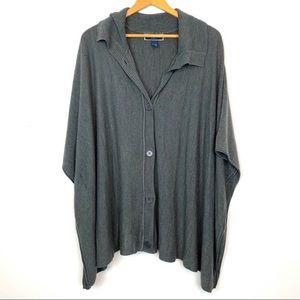 Karen Scott Sweater Gray Size 2X/3X Poncho Button